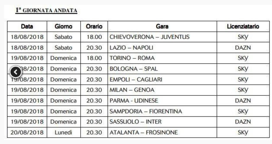 Calendario Serie A Su Sky.Calendario Sky E Dazn