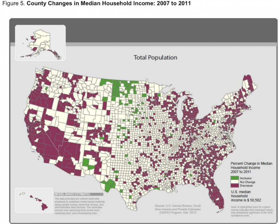 Variazione del reddito medio familiare dal 2007: Gli utili sono concentrate nel scisto e la fattoria regioni ricche