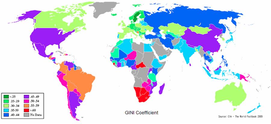 La disuguaglianza di reddito (indice di Gini): Sud Africa è la peggiore