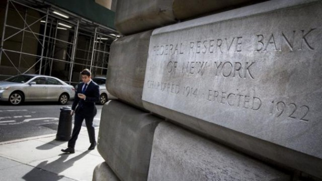 The corner stone of The New York Federal Reserve Bank is seen in New York
